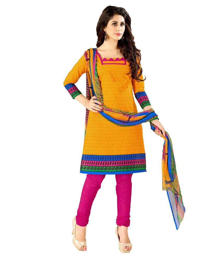Jiya Yellow Cotton Unstitched Dress Material