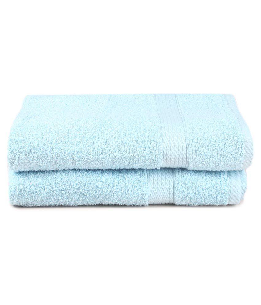Saral Home Blue Cotton Bath Towel