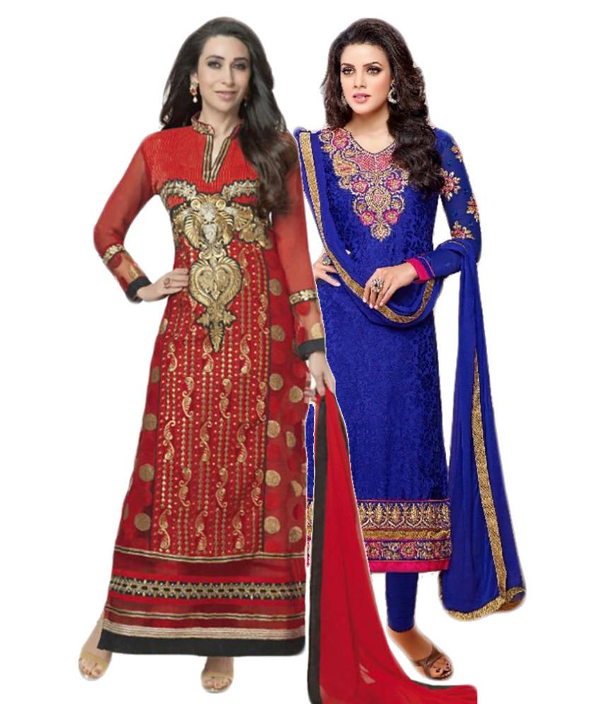 Sree Impex Red and Blue Others Unstitched Dress Material