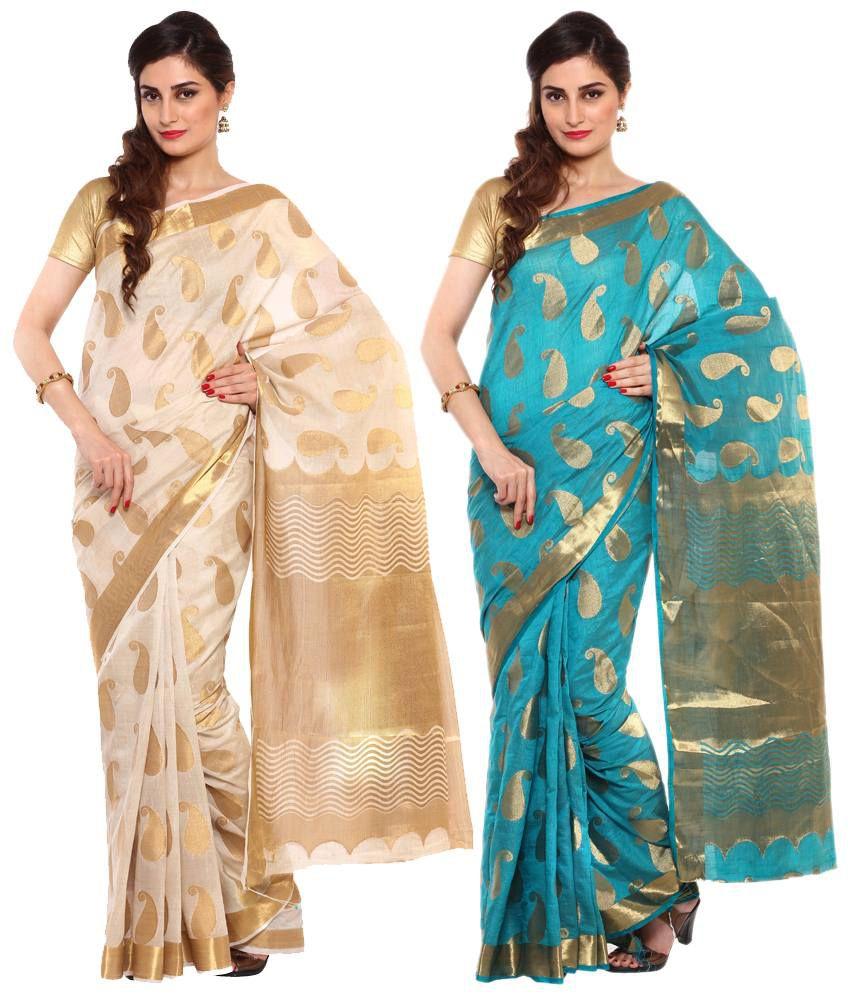 Sudarshan Silks Beige & Blue Raw Silk Pack of 2