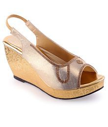 Shoe Lab Gold Heeled Sandals
