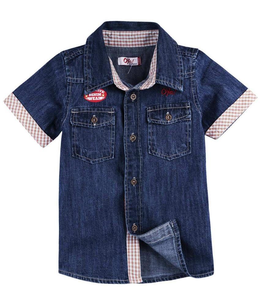 Oye Navy blue Half Sleeves Denim Baby Shirt for Kids