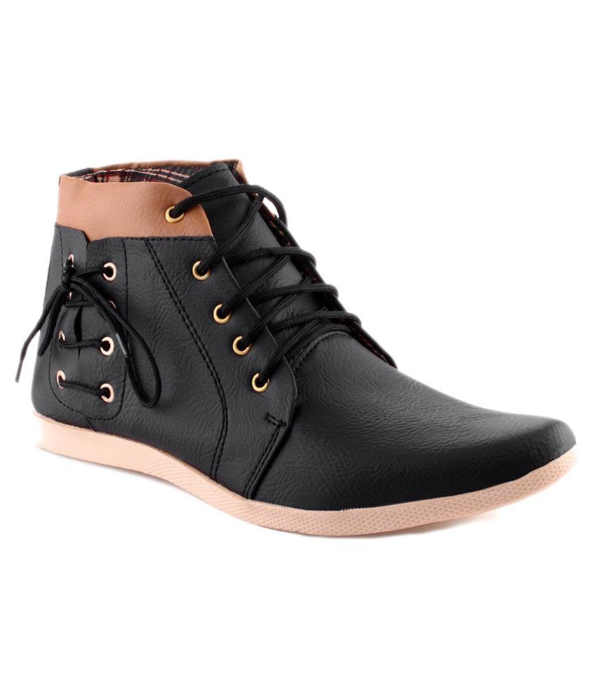 Koolado Black Synthetic Leather Boots