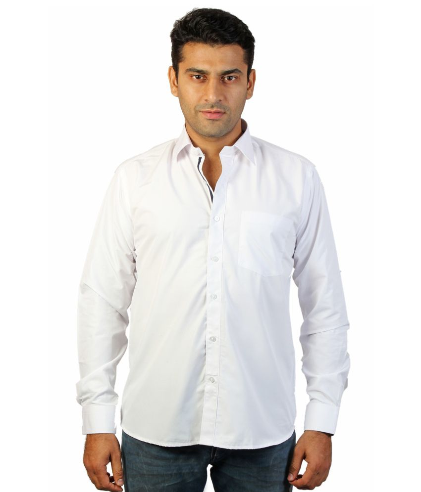Unique for men white cotton blend solids full sleeves for Unusual shirts for men