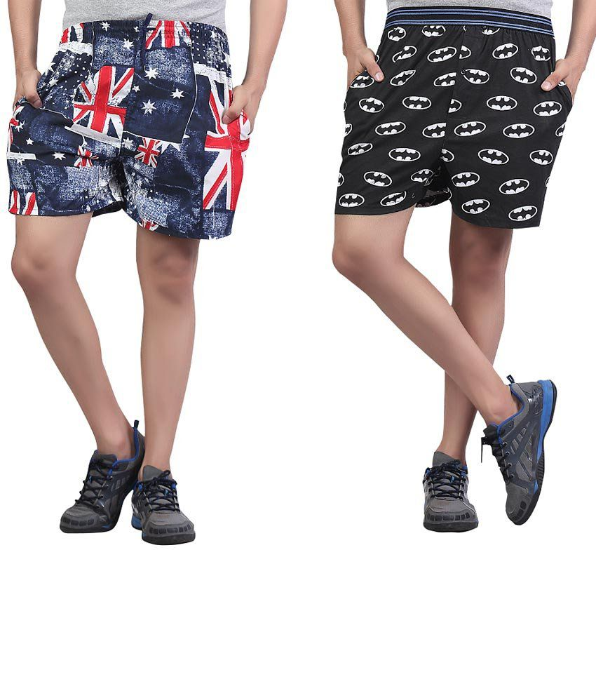 BFLY Multicolour Printed Cotton Shorts - Combo of 2