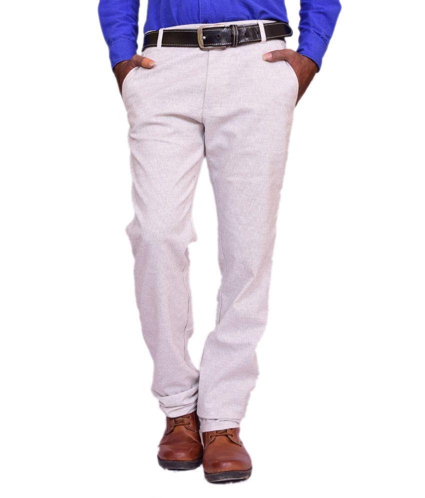 Estilo Ghostwhite Linen Casual Trouser