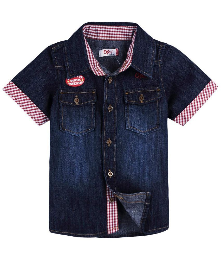Oye Navy Blue Half Sleeve Denim Shirt For Boys Buy Oye
