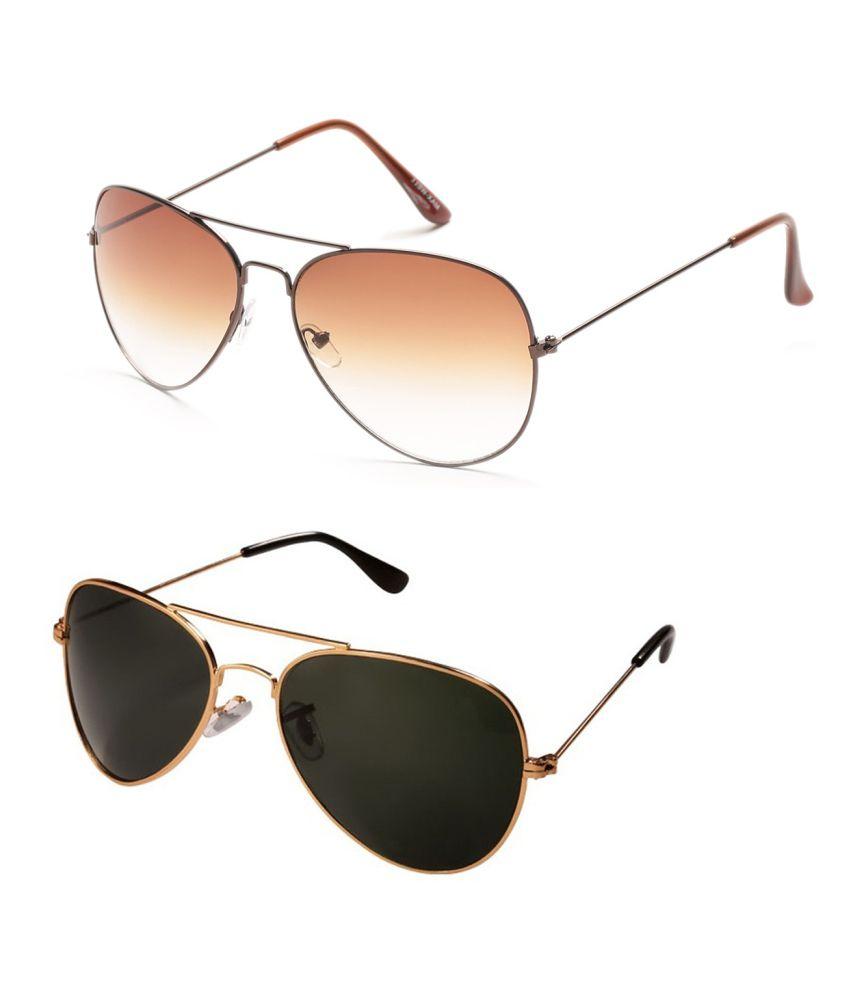 c59e98c452 Prime Club Golden-Black   Light-Brown Aviator Sunglasses Combo - Buy Prime  Club Golden-Black   Light-Brown Aviator Sunglasses Combo Online at Low  Price - ...