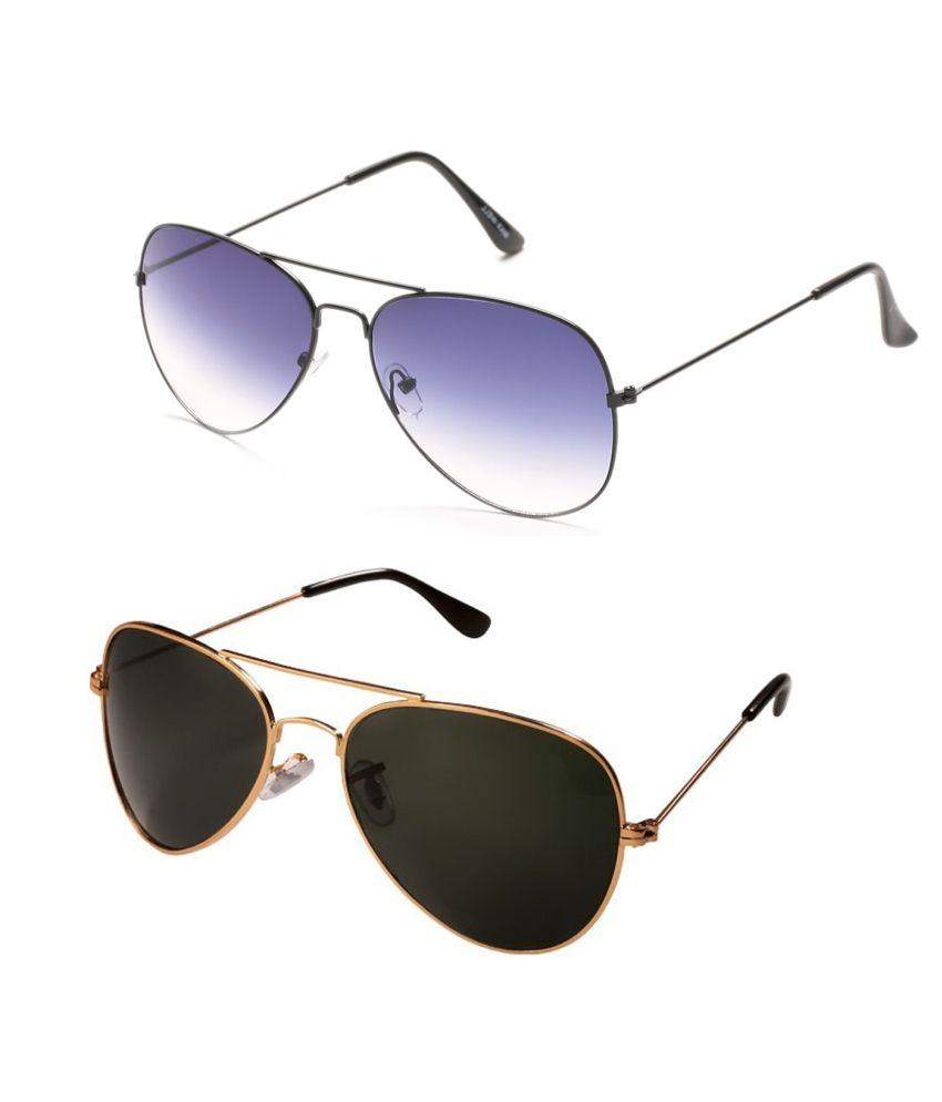 Prime Club Golden-Black & Navy-Blue Aviator Sunglasses Combo