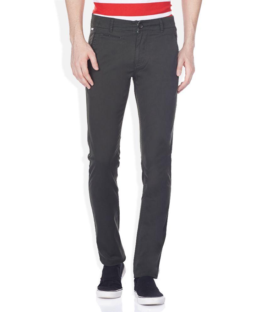 Spykar Green Slim Fit Trousers