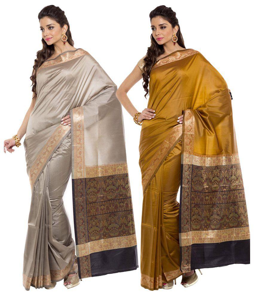 Sudarshan Silks Beige and Yellow Ar Silk Pack of 2