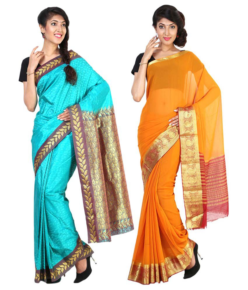 Sudarshan Silks Orange & Blue Semi Chiffon Pack of 2