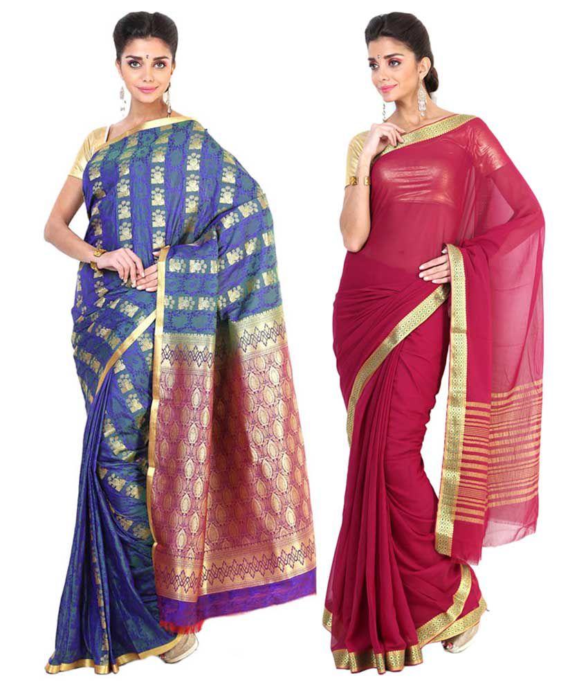 Sudarshan Silks Pink & Navy Blue Semi Chiffon Pack of 2