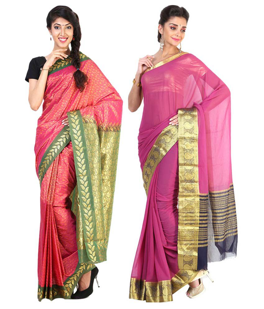 Sudarshan Silks Pink Semi Chiffon Pack of 2