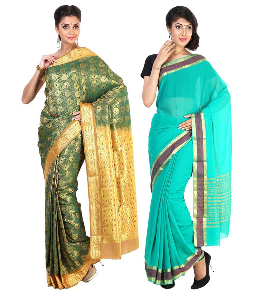 Sudarshan Silks Turquoise & Green Semi Chiffon Pack of 2