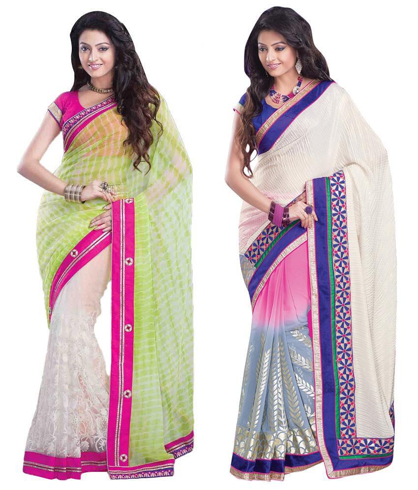 Womantra Beige, Pink & Blue Bhagalpuri Silk Pack of 2
