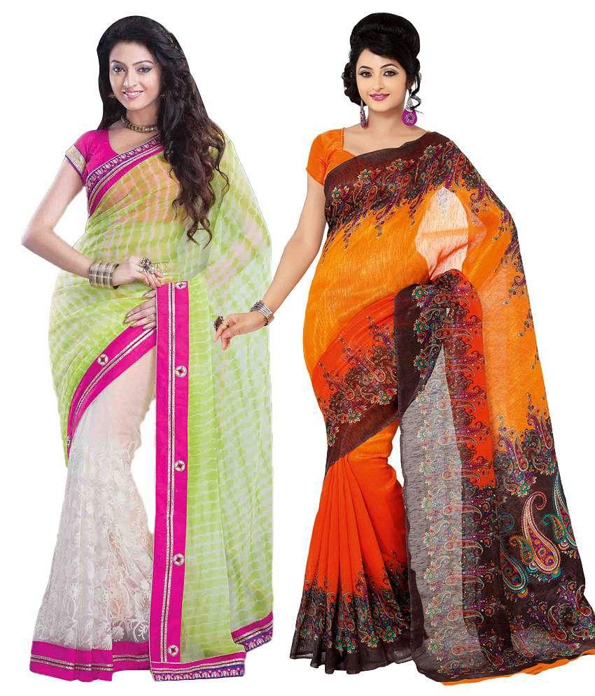 Womantra Pink & Orange Bhagalpuri Silk Pack of 2