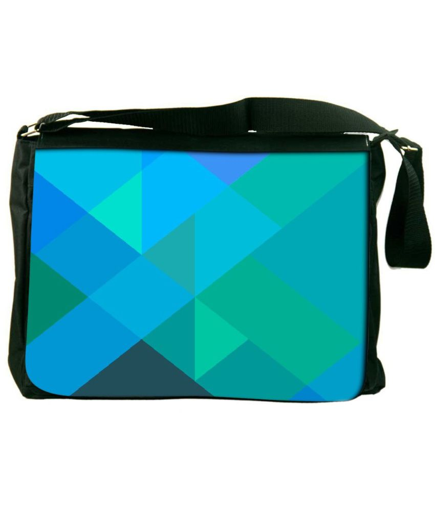 Snoogg Blue and Green Laptop Messenger Bag Blue and Green Messenger Bag