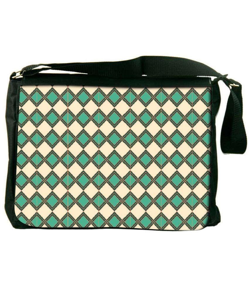 Snoogg Green and Beige Laptop Messenger Bag Green and Beige Messenger Bag
