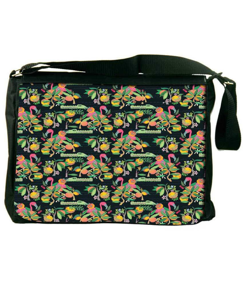 Snoogg Green and Pink Laptop Messenger Bag Green and Pink Messenger Bag