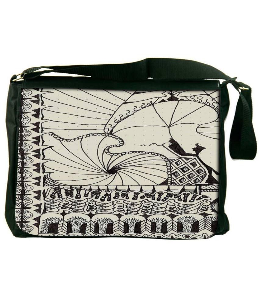 Snoogg OffWhite and Black Laptop Messenger Bag OffWhite and Black Messenger Bag