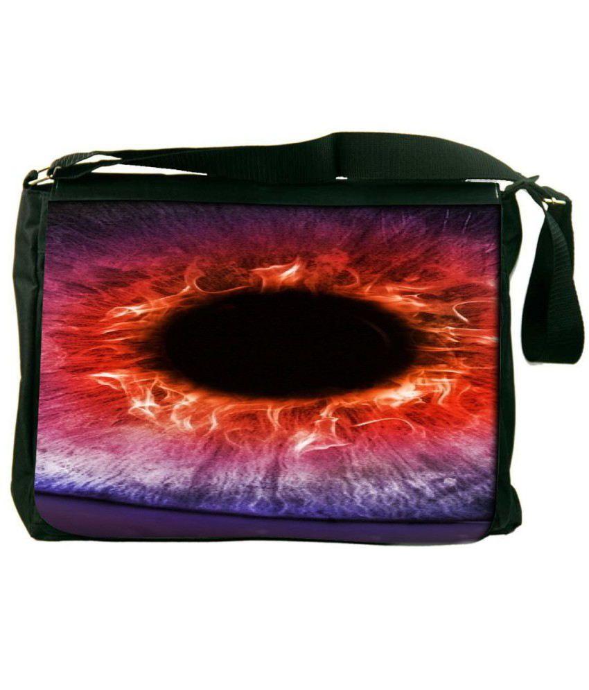 Snoogg Orange and Black Laptop Messenger Bag Orange and Black Messenger Bag