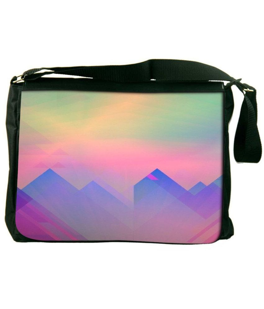 Snoogg Pink and Blue Laptop Messenger Bag Pink and Blue Messenger Bag
