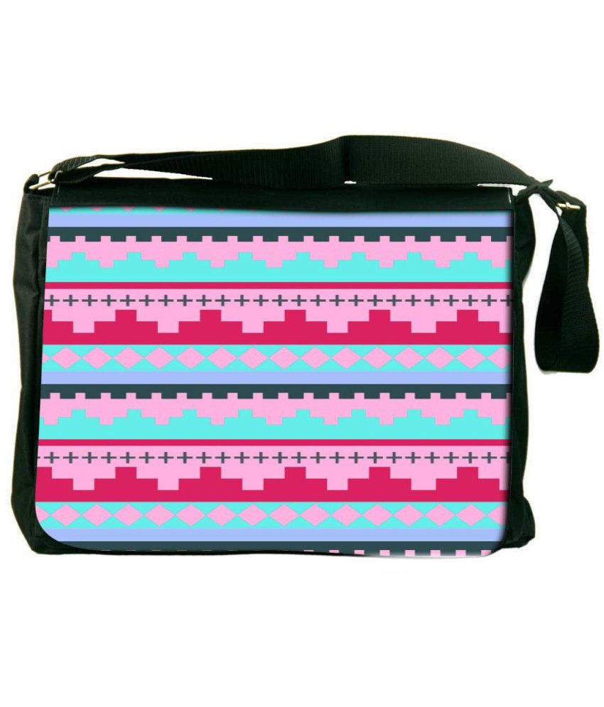 Snoogg Pink and Turquoise Laptop Messenger Bag Pink and Turquoise Messenger Bag