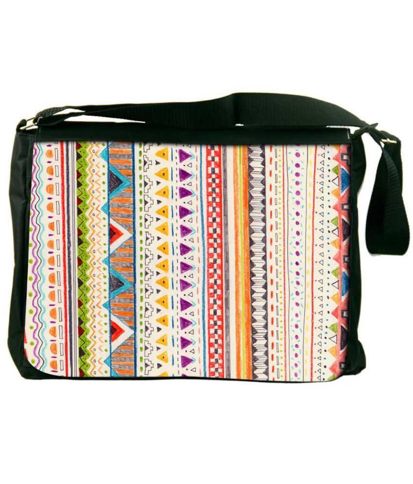 Snoogg White and Orange Laptop Messenger Bag White and Orange Messenger Bag