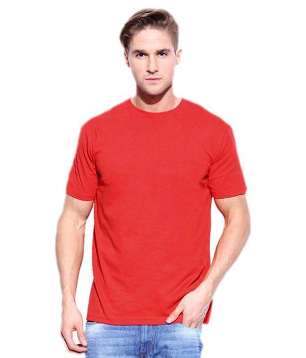 Yolande Red Cotton Round Neck T-shirt