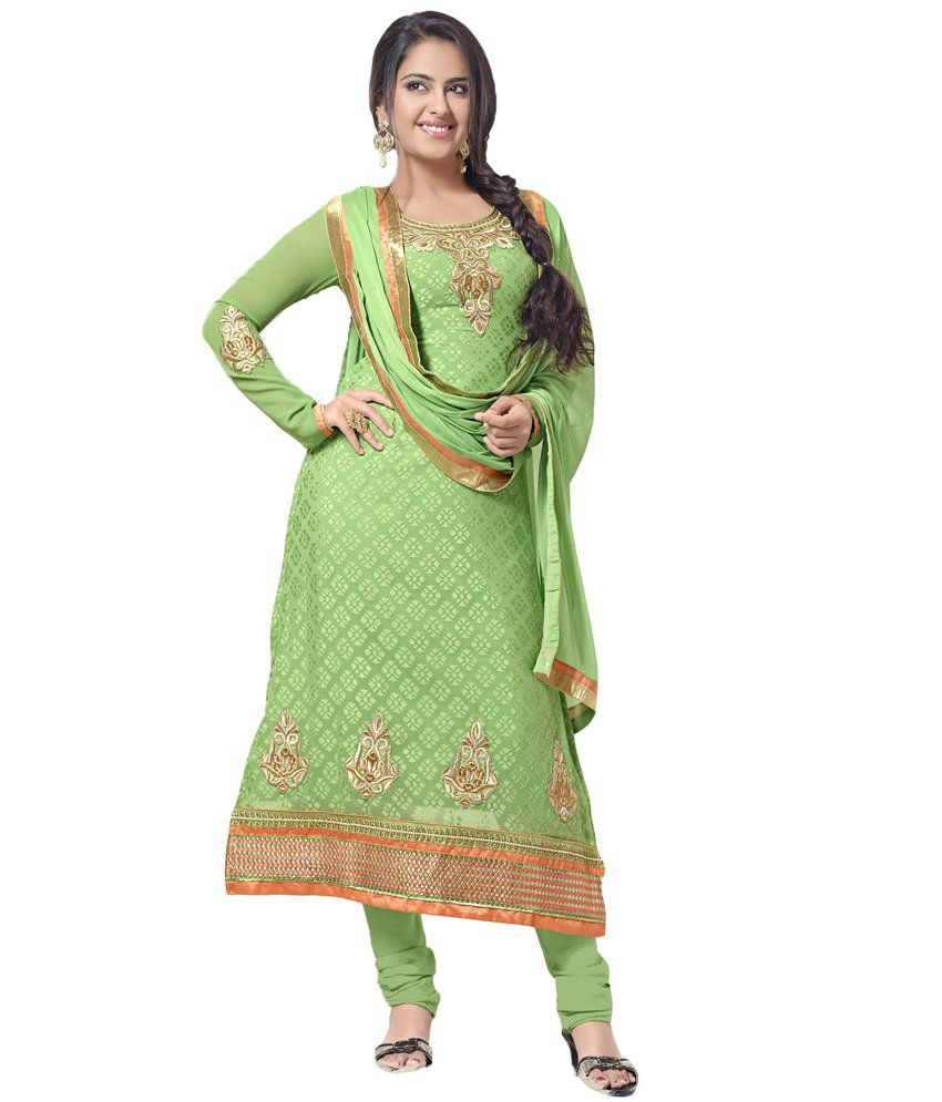 Navya Green Faux Georgette Unstitched Dress Material