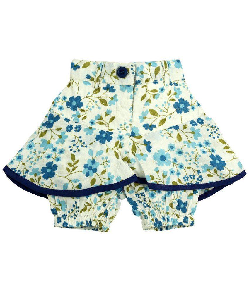 Oye Blue & Beige Cotton Shorts for Girls