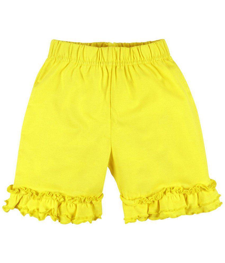 Oye Fabulous Yellow Cotton Shorts for Girls