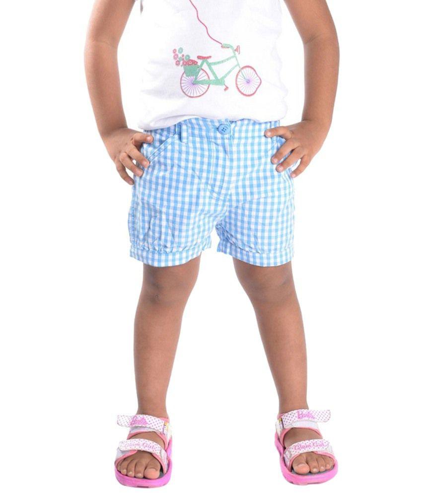Oye Trendy Blue & White Cotton Shorts for Girls