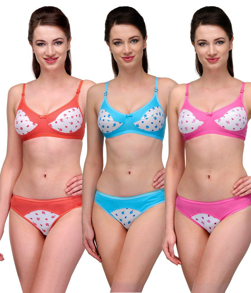 347d277f937 Buy Softskin Multi Color Cotton Bra & Panty Sets Pack of 3 Online at Best  Prices in India - Snapdeal