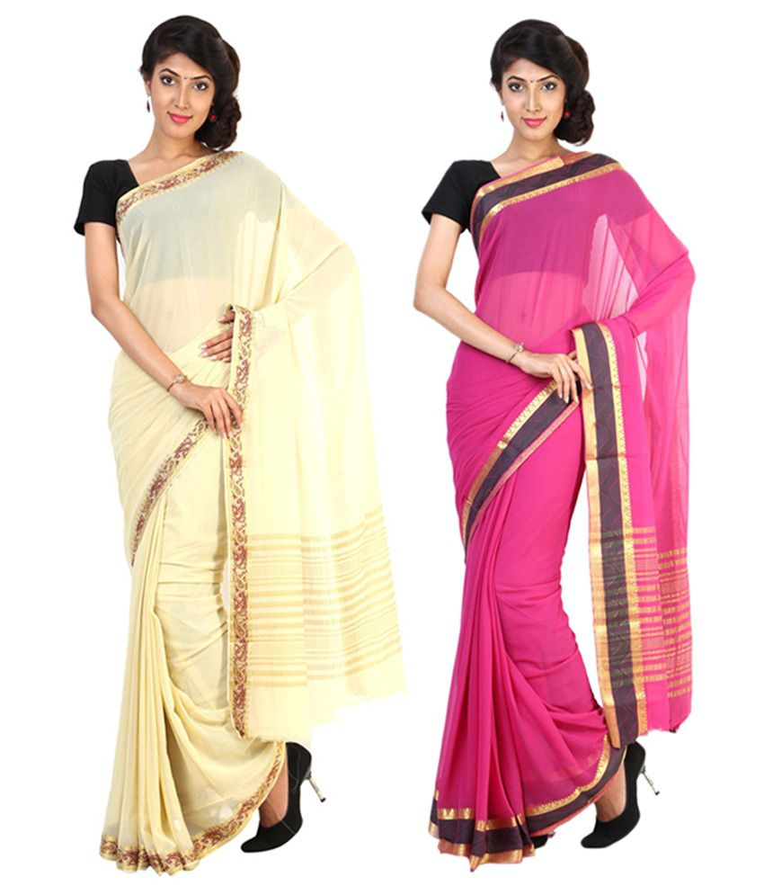 Sudarshan Silks Beige & Pink Semi Chiffon Saree (Pack of 2)