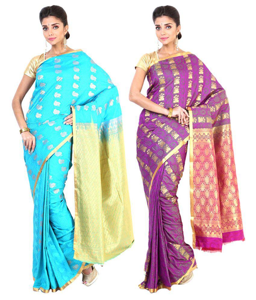 Sudarshan Silks Blue & Purple Semi Chiffon Saree (Pack of 2)