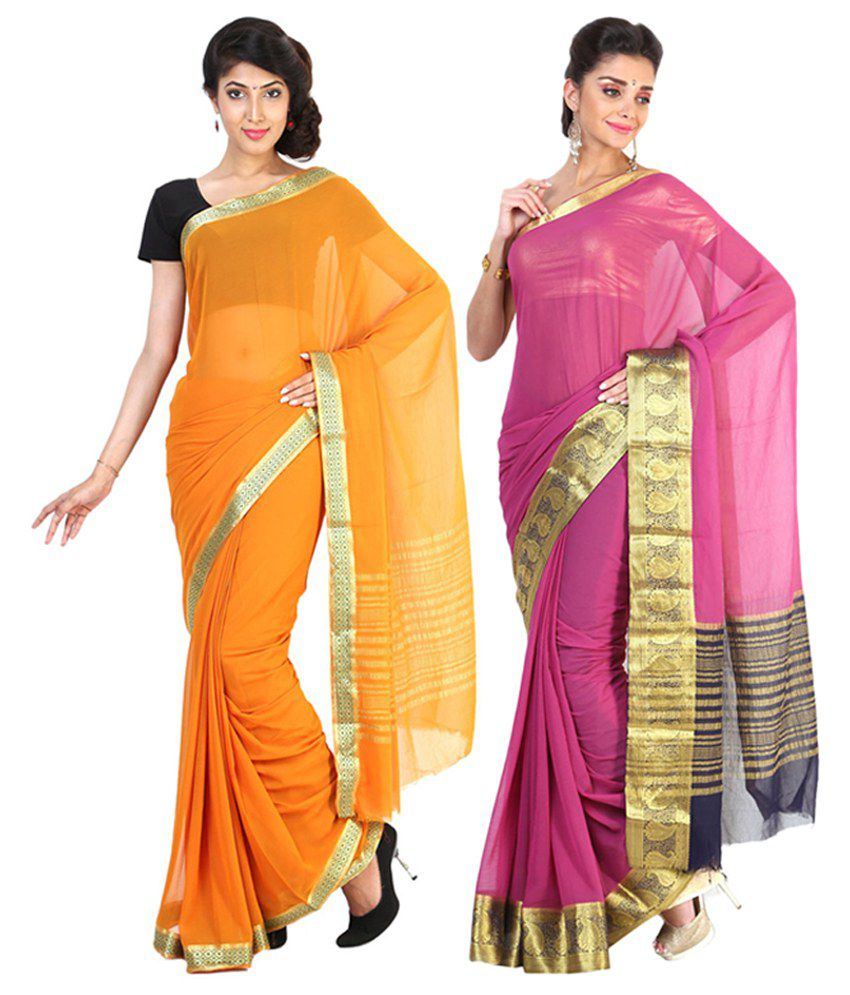 Sudarshan Silks Orange & Pink Semi Chiffon Saree (Pack of 2)