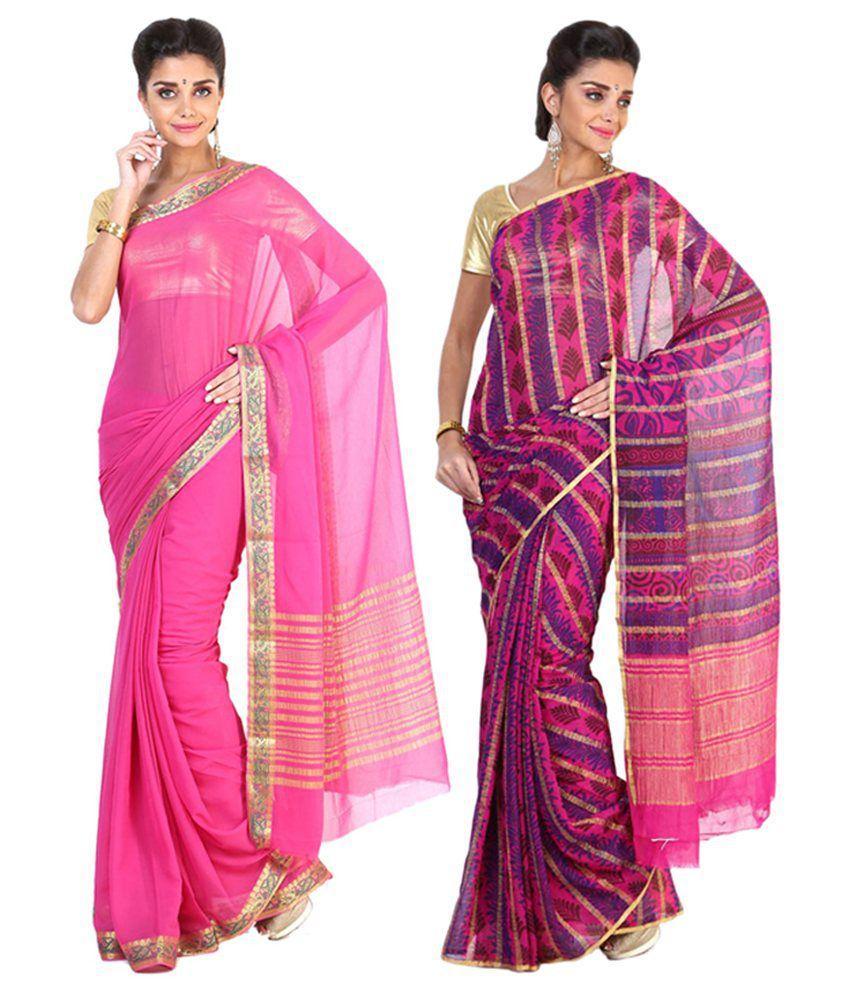 Sudarshan Silks Pink & Multicolour Semi Chiffon Saree (Pack of 2)