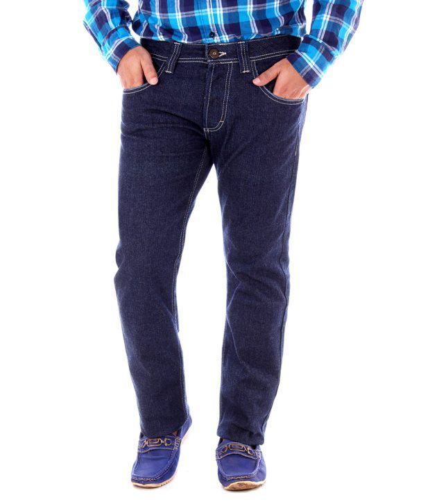 Yup Blue Cotton Slim Jeans For Men