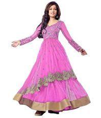 VIHA Pink Net Semi Stitched Anarkali Salwar Suits