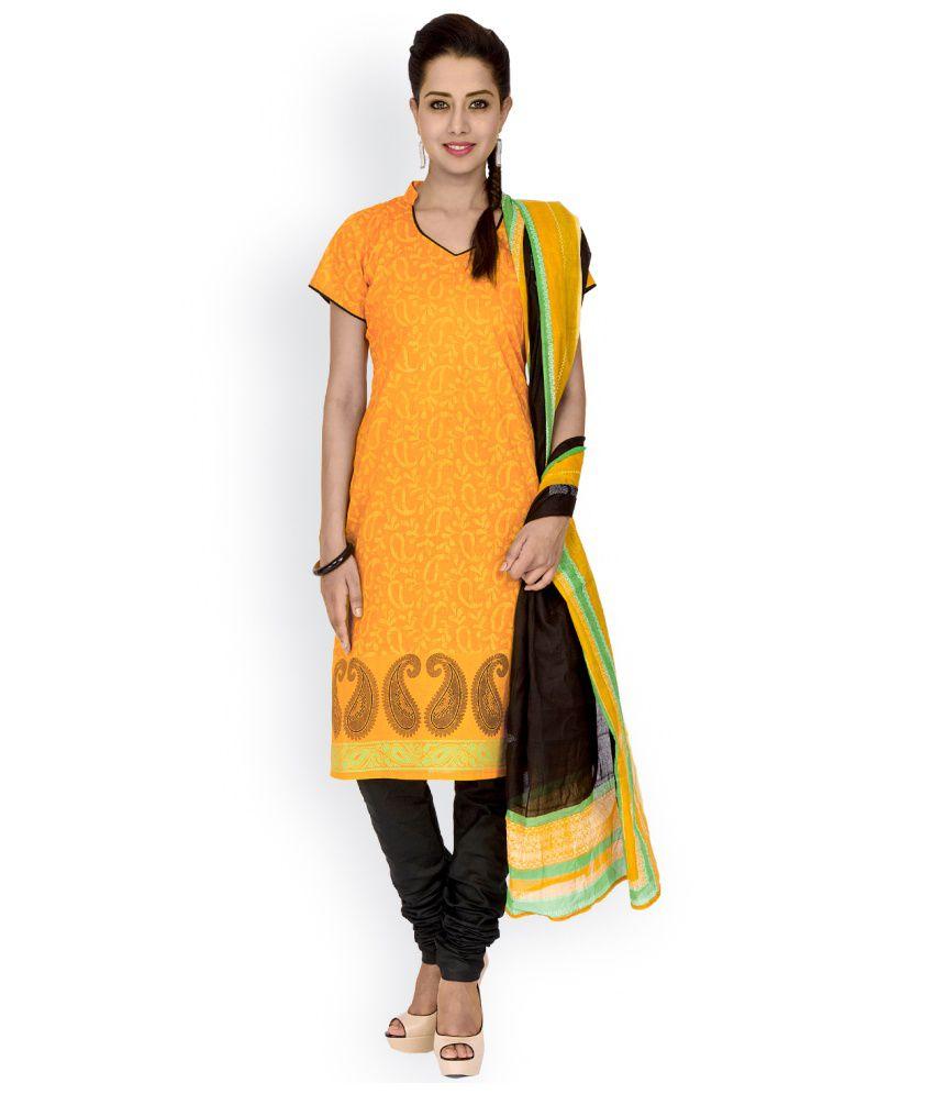EthnicQueen Orange Cotton Stitched Suit