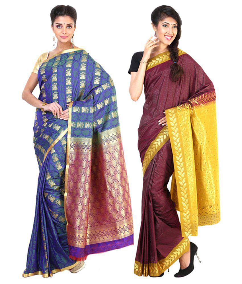 Sudarshan Silks Purple & Maroon Semi Chiffon Saree (Pack of 2)