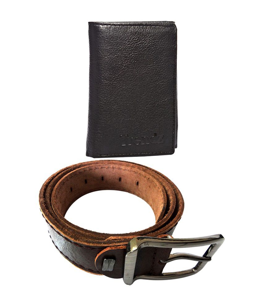 Trendz Brown Genuine Leather Belt & Black Wallet (Pack of 2)