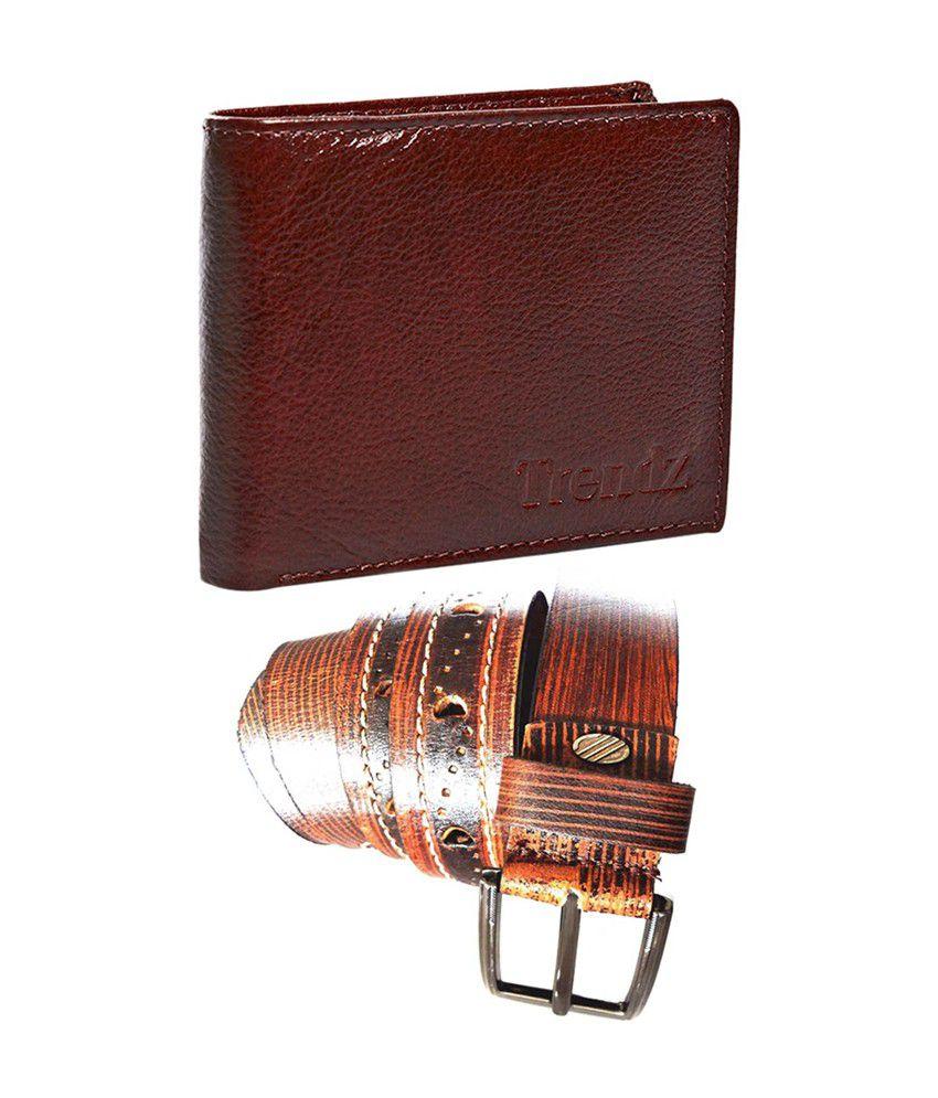 Trendz Genuine Leather Belt & Wallet in Brown (Pack of 2)