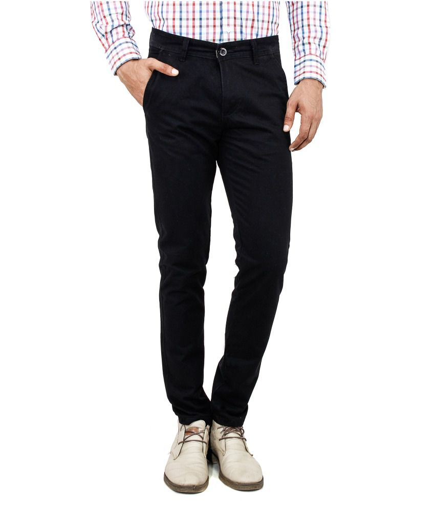 Uber Urban Black Cotton Casuals Slim Fit Flat