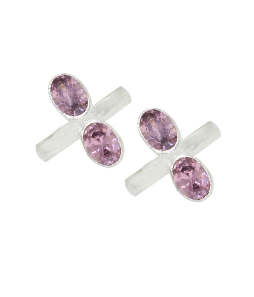 Pehchan Pink Rajasthan Silver Toe-rings