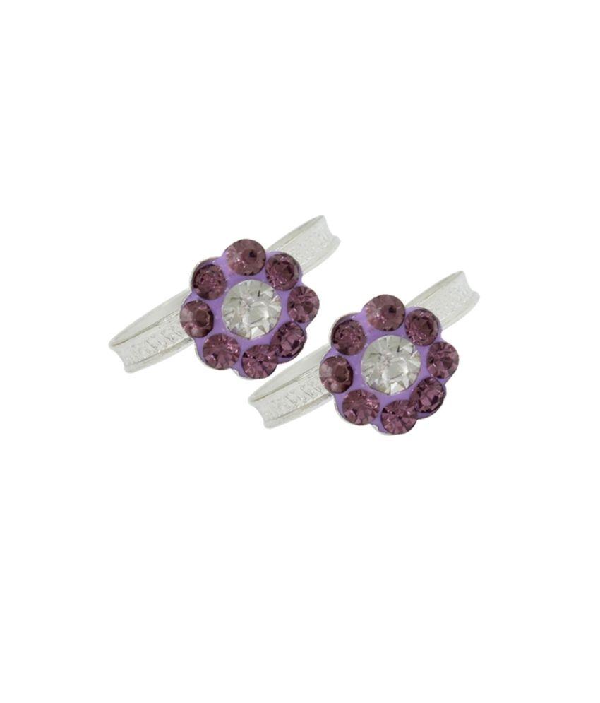 Pehchan Purple Rajasthan Silver Toe-rings