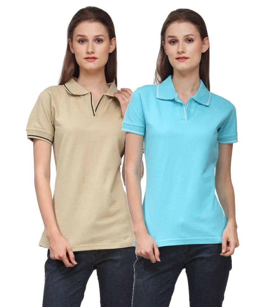 Scott International Combo of Beige and Blue Cotton Blend Polo T-shirts (Set of 2)