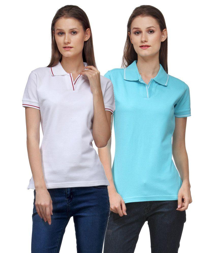 Scott International Combo of Gray and Blue Cotton Blend Polo T-shirts (Set of 2)